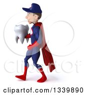 Clipart Of A 3d Young White Male Super Hero Mechanic In Red And Dark Blue Holding A Tooth And Walking To The Left Royalty Free Illustration