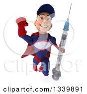 Clipart Of A 3d Young White Male Super Hero Mechanic In Red And Dark Blue Holding A Giant Vaccine Syringe And Flying Royalty Free Illustration