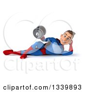 Clipart Of A 3d Young Brunette White Male Super Hero In A Blue And Red Suit Resting On His Side And Working Out With A Dumbbell Royalty Free Illustration