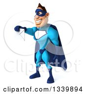 Clipart Of A 3d Caucasian Blue Male Super Hero Facing Left And Holding Out An Envelope Royalty Free Illustration