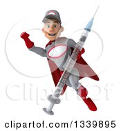 Clipart Of A 3d Young White Male Super Hero Mechanic In Gray And Red Holding A Giant Vaccine Syringe And Flying Royalty Free Illustration