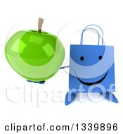 Clipart Of A 3d Happy Blue Shopping Or Gift Bag Character Holding Up A Green Apple Royalty Free Illustration