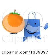 Clipart Of A 3d Happy Blue Shopping Or Gift Bag Character Holding Up A Thumb And A Navel Orange Royalty Free Illustration