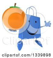 Clipart Of A 3d Happy Blue Shopping Or Gift Bag Character Holding A Navel Orange Facing Slightly Right And Jumping Royalty Free Illustration