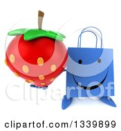Clipart Of A 3d Happy Blue Shopping Or Gift Bag Character Holding Up A Strawberry Royalty Free Illustration