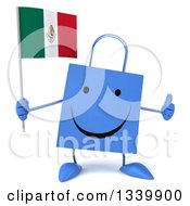 Clipart Of A 3d Happy Blue Shopping Or Gift Bag Character Holding A Mexican Flag And Giving A Thumb Up Royalty Free Illustration