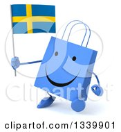 Clipart Of A 3d Happy Blue Shopping Or Gift Bag Character Holding A Swedish Flag And Walking Slightly To The Left Royalty Free Illustration