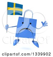 Clipart Of A 3d Unhappy Blue Shopping Or Gift Bag Character Holding A Swedish Flag And Jumping Royalty Free Illustration