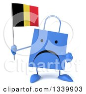 Clipart Of A 3d Unhappy Blue Shopping Or Gift Bag Character Holding And Pointing To A Belgian Flag Royalty Free Illustration