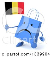 Clipart Of A 3d Unhappy Blue Shopping Or Gift Bag Character Holding A Belgian Flag And Walking Royalty Free Illustration