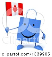 Clipart Of A 3d Happy Blue Shopping Or Gift Bag Character Holding A Canadian Flag Royalty Free Illustration