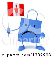 Clipart Of A 3d Unhappy Blue Shopping Or Gift Bag Character Holding And Pointing To A Canadian Flag Royalty Free Illustration