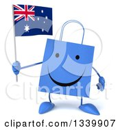 Clipart Of A 3d Happy Blue Shopping Or Gift Bag Character Holding An Australian Flag Royalty Free Illustration
