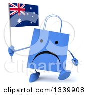 Clipart Of A 3d Unhappy Blue Shopping Or Gift Bag Character Holding An Australian Flag And Walking Royalty Free Illustration