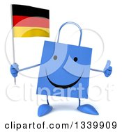 Clipart Of A 3d Happy Blue Shopping Or Gift Bag Character Holding A German Flag And Giving A Thumb Up Royalty Free Illustration by Julos
