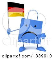 Clipart Of A 3d Unhappy Blue Shopping Or Gift Bag Character Holding And Pointing To A German Flag Royalty Free Illustration