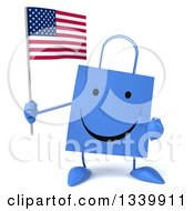 Clipart Of A 3d Happy Blue Shopping Or Gift Bag Character Holding And Pointing To An American Flag Royalty Free Illustration