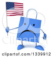 Clipart Of A 3d Unhappy Blue Shopping Or Gift Bag Character Holding An American Flag Royalty Free Illustration