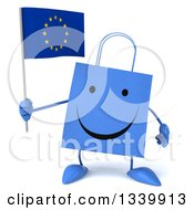 Clipart Of A 3d Happy Blue Shopping Or Gift Bag Character Holding A European Flag Royalty Free Illustration