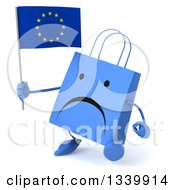 Clipart Of A 3d Unhappy Blue Shopping Or Gift Bag Character Holding A European Flag And Walking Slightly To The Left Royalty Free Illustration