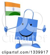 Clipart Of A 3d Happy Blue Shopping Or Gift Bag Character Holding An Indian Flag And Giving A Thumb Up Royalty Free Illustration