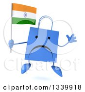 Clipart Of A 3d Unhappy Blue Shopping Or Gift Bag Character Holding An Indian Flag And Jumping Royalty Free Illustration