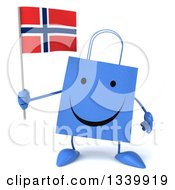 Clipart Of A 3d Happy Blue Shopping Or Gift Bag Character Holding A Norwegian Flag Royalty Free Illustration by Julos