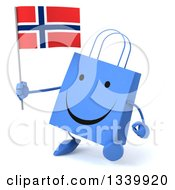 Clipart Of A 3d Happy Blue Shopping Or Gift Bag Character Holding A Norwegian Flag And Walking Slightly Right Royalty Free Illustration