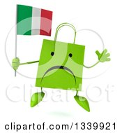 Clipart Of A 3d Unhappy Green Shopping Or Gift Bag Character Holding An Italian Flag And Jumping Royalty Free Illustration by Julos