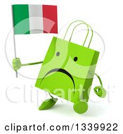 Clipart Of A 3d Unhappy Green Shopping Or Gift Bag Character Holding An Italian Flag And Walking Slightly To The Left Royalty Free Illustration by Julos