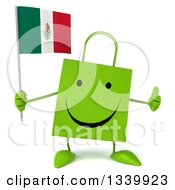 Clipart Of A 3d Happy Green Shopping Or Gift Bag Character Holding A Mexican Flag And Giving A Thumb Up Royalty Free Illustration by Julos