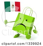 Clipart Of A 3d Unhappy Green Shopping Or Gift Bag Character Holding A Mexican Flag And Walking Slightly To The Left Royalty Free Illustration by Julos