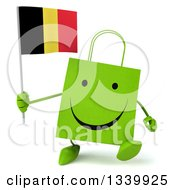 Clipart Of A 3d Happy Green Shopping Or Gift Bag Character Holding A Belgian Flag And Walking Royalty Free Illustration by Julos