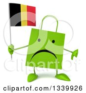 Clipart Of A 3d Unhappy Green Shopping Or Gift Bag Character Holding A Belgian Flag And Giving A Thumb Down Royalty Free Illustration by Julos