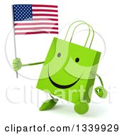 Clipart Of A 3d Happy Green Shopping Or Gift Bag Character Holding An American Flag And Walking Slightly To The Left Royalty Free Illustration by Julos