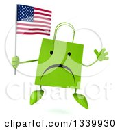 Clipart Of A 3d Unhappy Green Shopping Or Gift Bag Character Holding An American Flag And Jumping Royalty Free Illustration by Julos
