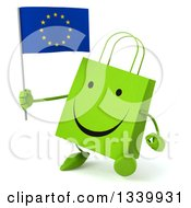 Clipart Of A 3d Happy Green Shopping Or Gift Bag Character Holding A European Flag And Walking Slightly To The Left Royalty Free Illustration by Julos