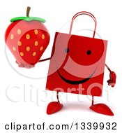 Clipart Of A 3d Happy Red Shopping Or Gift Bag Character Holding A Strawberry Royalty Free Illustration by Julos