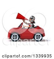Clipart Of A 3d Young Male Roman Legionary Soldier Announcing With A Megaphone And Driving A Red Convertible Car Royalty Free Illustration