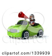 Clipart Of A 3d Young Male Roman Legionary Soldier Announcing With A Megaphone And Driving A Green Convertible Car Royalty Free Illustration