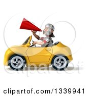Clipart Of A 3d Young Male Roman Legionary Soldier Announcing With A Megaphone And Driving A Yellow Convertible Car Royalty Free Illustration