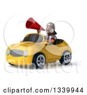Clipart Of A 3d Young Male Roman Legionary Soldier Announcing With A Megaphone And Driving A Yellow Convertible Car 2 Royalty Free Illustration