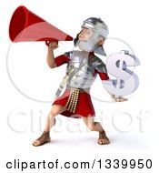 Clipart Of A 3d Young Male Roman Legionary Soldier Holding A Dollar Currency Symbol And Announcing To The Left With A Megaphone Royalty Free Illustration
