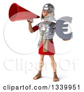 Clipart Of A 3d Young Male Roman Legionary Soldier Holding A Euro Currency Symbol And Announcing With A Megaphone Royalty Free Illustration