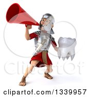 Clipart Of A 3d Young Male Roman Legionary Soldier Holding A Tooth And Announcing With A Megaphone Royalty Free Illustration