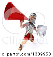Clipart Of A 3d Young Male Roman Legionary Soldier Holding A Tooth And Announcing With A Megaphone 2 Royalty Free Illustration