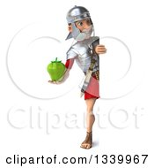 Clipart Of A 3d Full Length Young Male Roman Legionary Soldier Holding A Green Bell Pepper And Looking Around A Sign Royalty Free Illustration