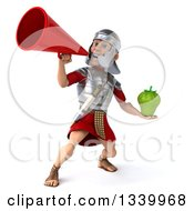 Clipart Of A 3d Young Male Roman Legionary Soldier Holding A Green Bell Pepper And Announcing Up To The Left With A Megaphone Royalty Free Illustration