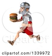 Clipart Of A 3d Young Male Roman Legionary Soldier Holding A Double Cheeseburger And Sprinting To The Left Royalty Free Illustration