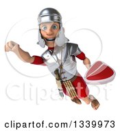 Clipart Of A 3d Young Male Roman Legionary Soldier Holding A Beef Steak And Flying Royalty Free Illustration
